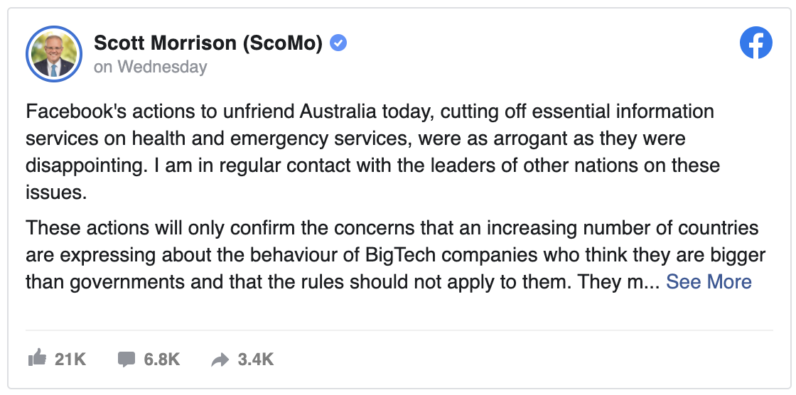 Post about Facebook decided to institute a blackout of all news shared on its platform in Australia.