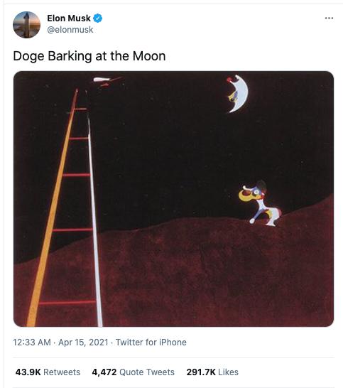 Elon Musk tweet of Doge Barking at the Moon