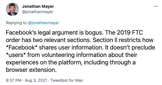 Tweet of Jonathan Mayer