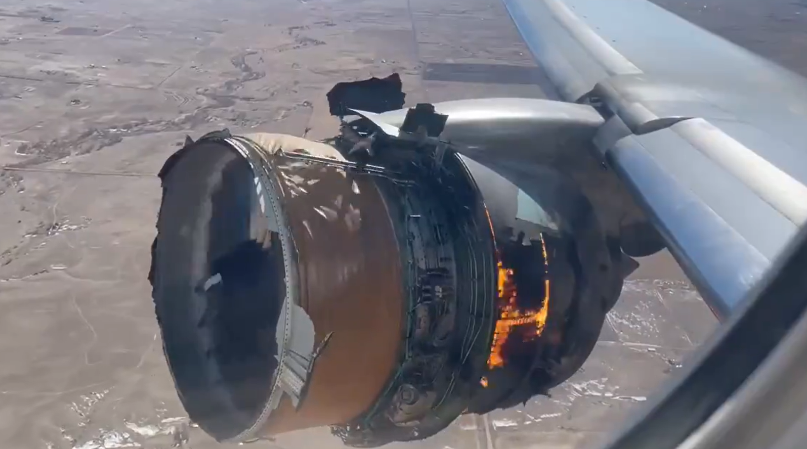 Airplane engine caught on fire shortly after takeoff