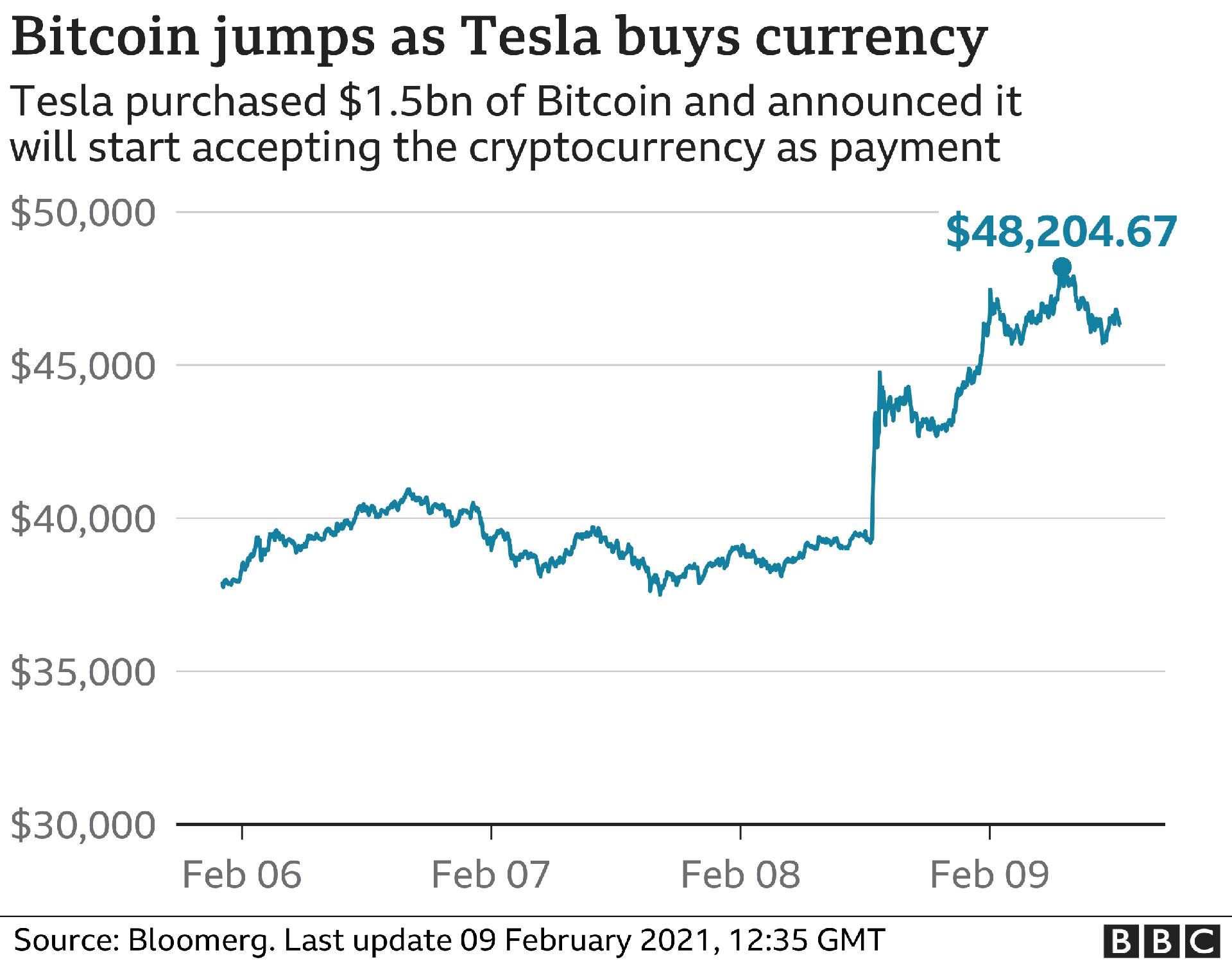 Chart of Tesla's purchased bitcoin