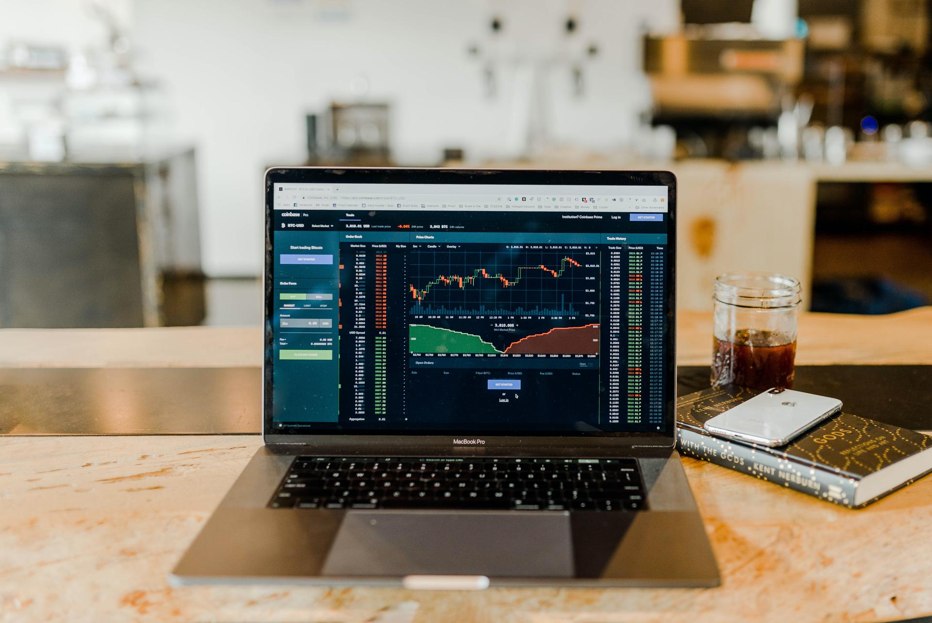 Stock Index on the laptop screen