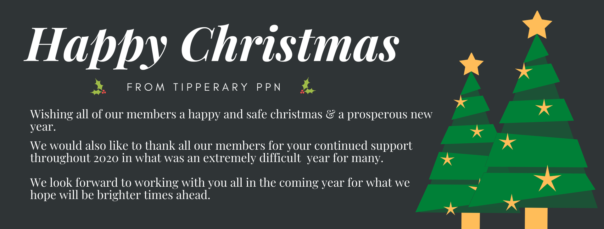 Happy Christmas from Tippperary PPN Wishing all our members a Merry Christmas a prosperous new year