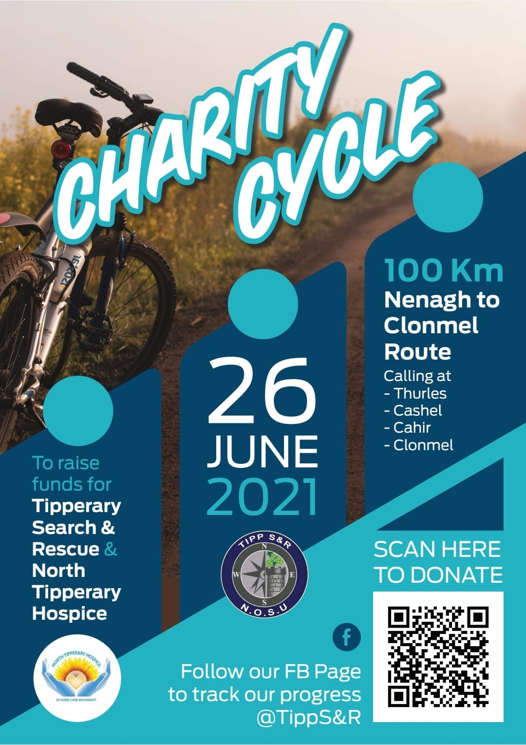 100k cycle 26th June in aid of Tipperary Search and Rescue and North Tipperary Hospice