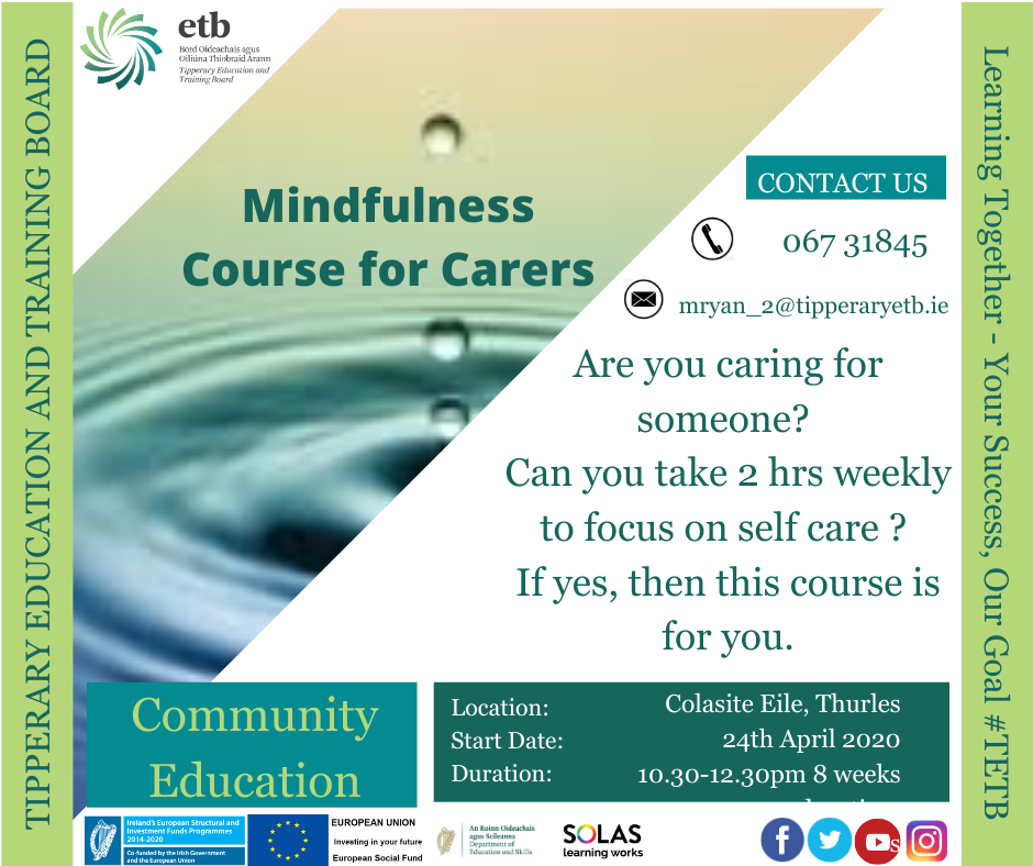 8 week Mindfulness course for carers 24th April from 10:30 -12:30pm