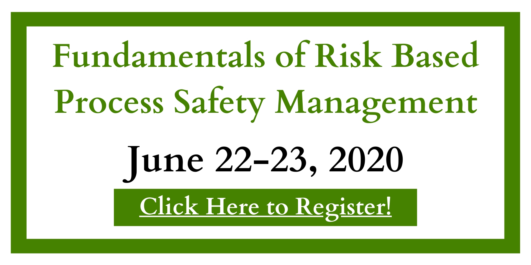 Register for Fundamentals of Risk Based Process Safety Management