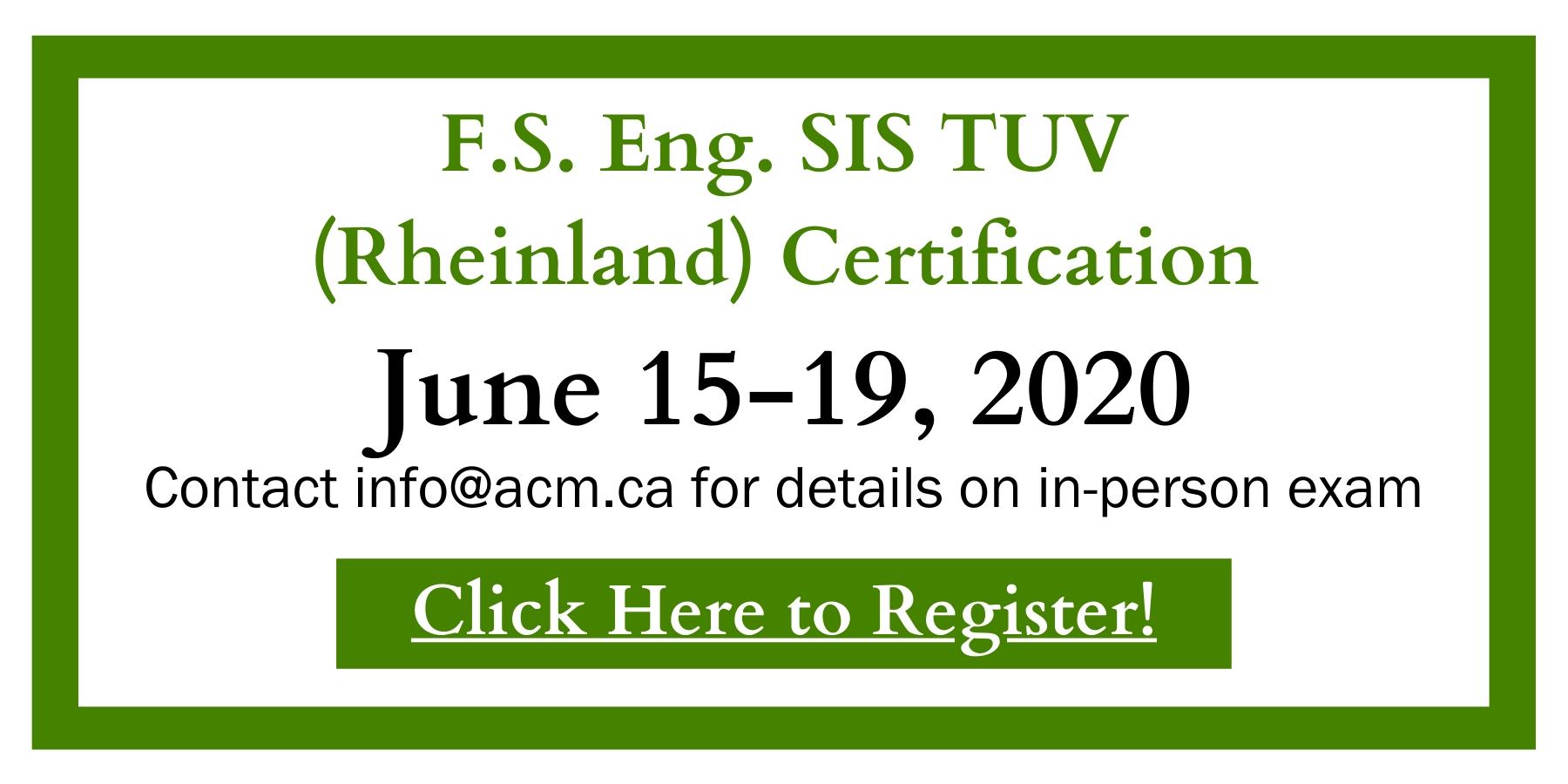 Register for F.S. Eng. SIS TUV (Rheinland) Certification