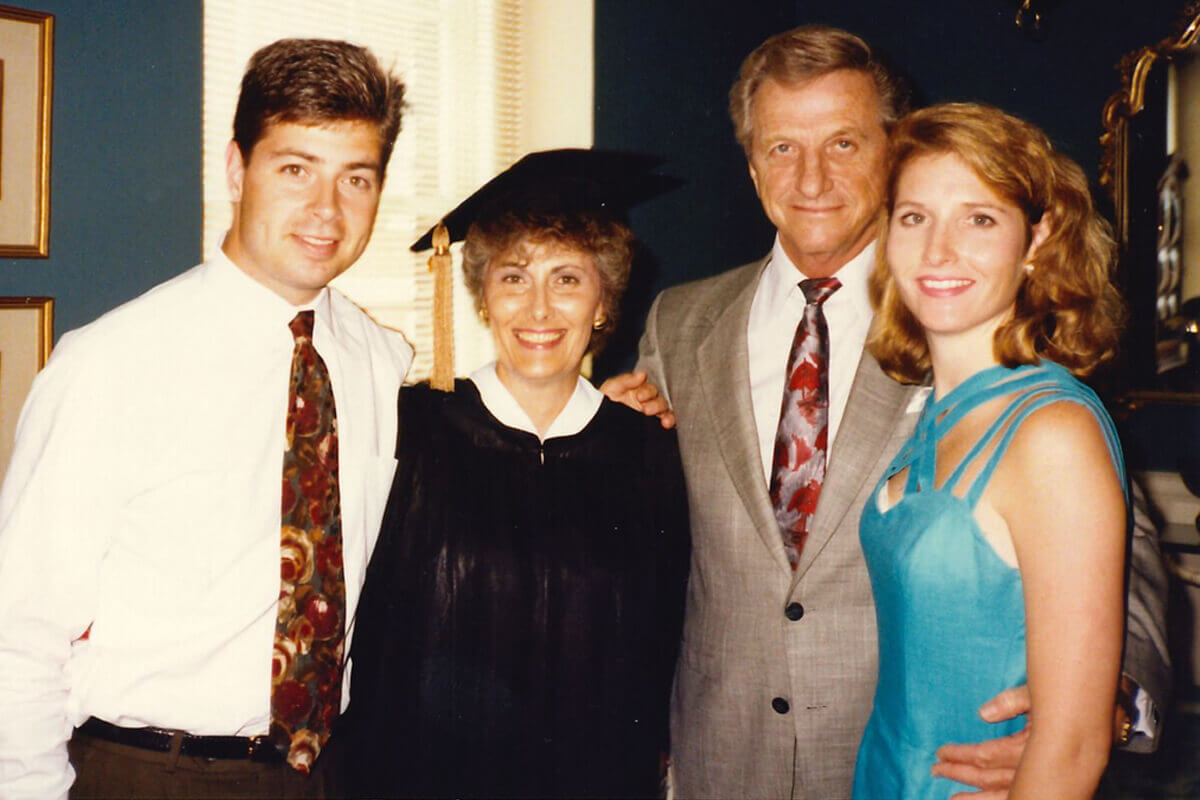 Bobbi Sahm and family following her 1992 UGA graduation
