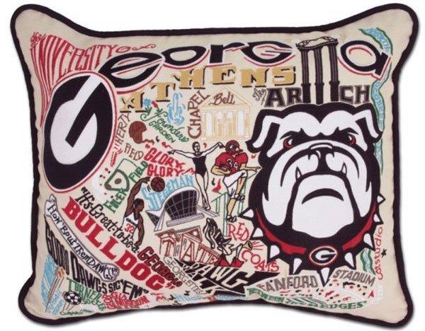 embroidered UGA pillow