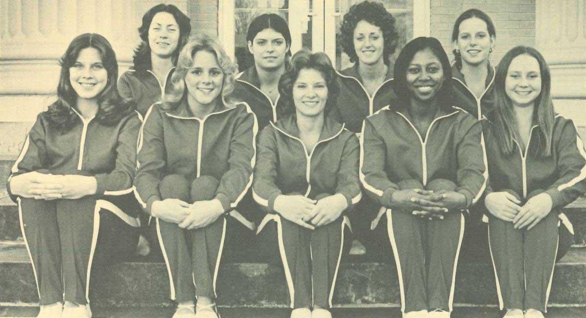 Jackie Mattison with her gymnastics team in 1976.