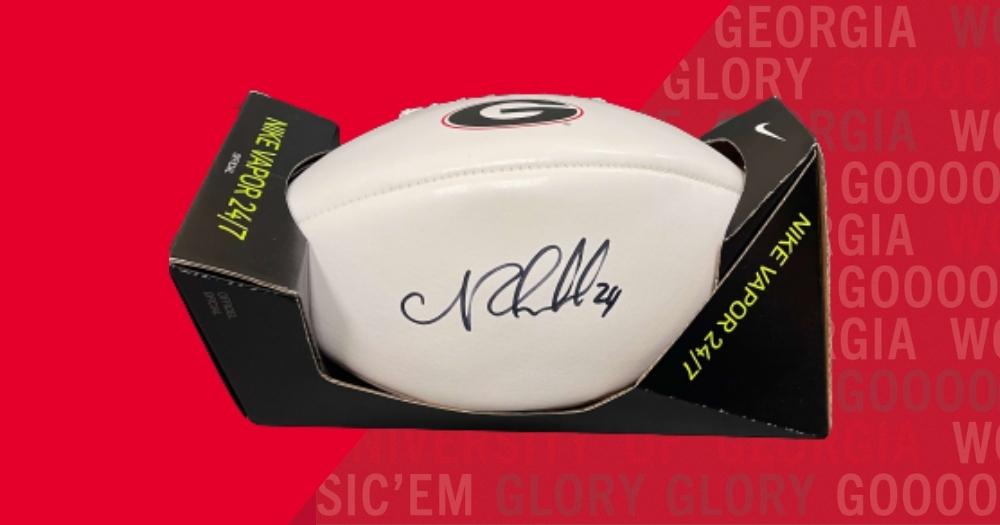 Nick Chubb signed football