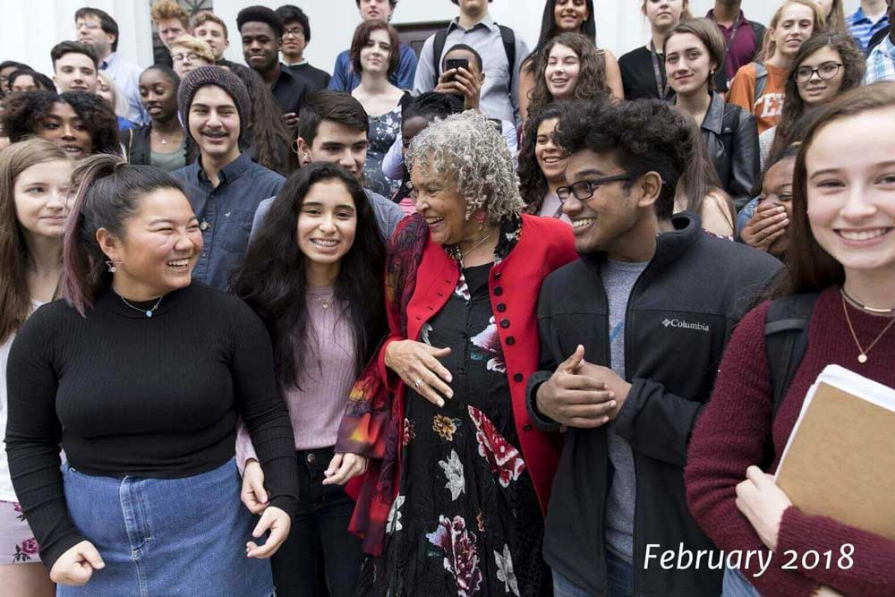 Charlayne with students in Feb. 2018