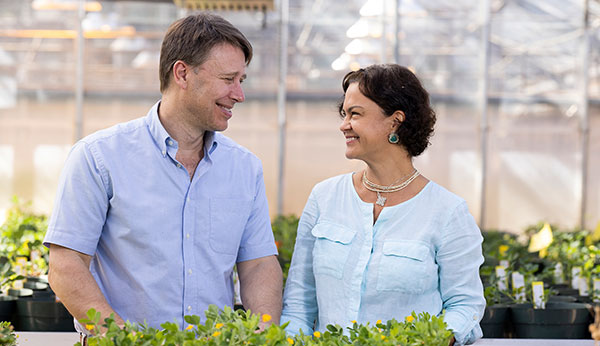 David Bertioli and his wife, Soraya Leal-Bertioli, in their greenhouses at the Center for Applied Genetic Technologies. (Photo by Andrew Davis Tucker/UGA)